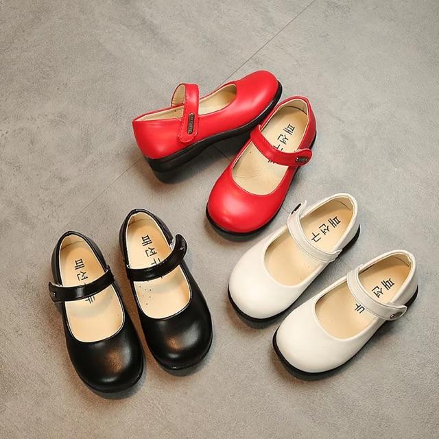 รองเท้าเด็กคัชชูหนัง ผิวกึ่งด้าน สีดำ,แดง,ขาว