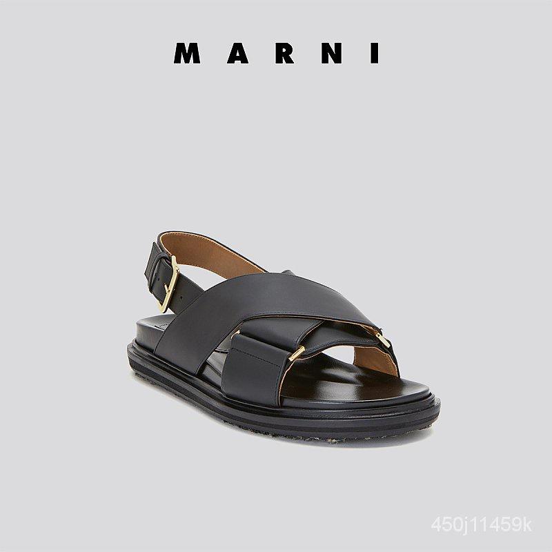 MARNI 2021ชุดต้นฤดูใบไม้ร่วงใหม่คลาสสิกFussbettรองเท้าแตะสายรัดไขว้สีดำสำหรับสุภาพสตรีรองเท้าแตะผู้หญิง