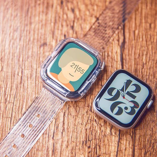 สาย applewatch ใช้ได้กับ AppleWatch สายรัดกีฬาแบบโปร่งใสในตัวธารน้ำแข็ง จำกัด iwatch ฝาครอบป้องกันรุ่น 4/5/6 / SE
