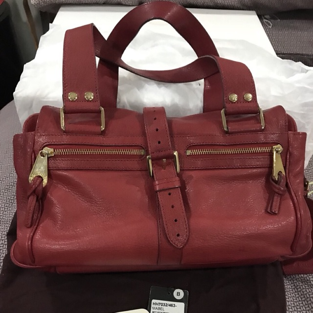 Used Mulberry Medium Mabel Leather Bag in Red