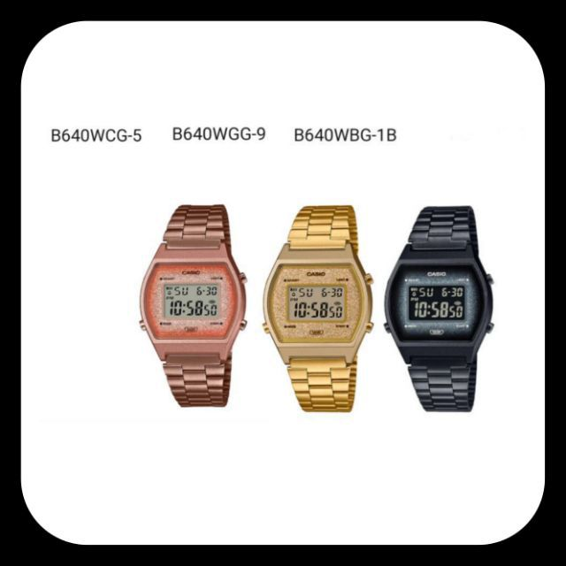 Casio แท้💯% รุ่น  B640WGG-5,  B640WGG-9, B640WBG-1B  นาฬิกาผู้หญิง สายสเตนเลส