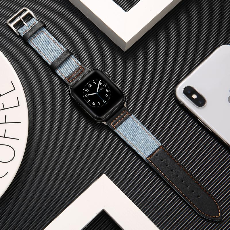 บังคับiwatch6สายหนังapplewatch3/4/5รุ่นแอปเปิ้ลสายนาฬิกาเปลี่ยนกับผู้หญิง38mm42ผู้ชาย44mm40น้ำขึ้นน้ำลงใหม่iPhone series