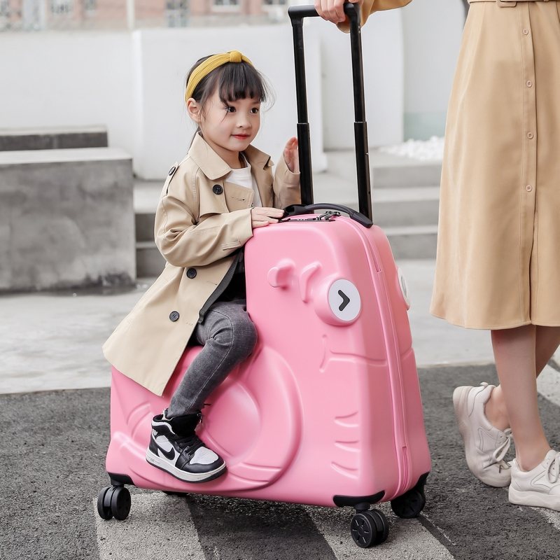 ❇☠กรณีรถเข็น กระเป๋าเดินทางล้อลากใบเล็กTochi/tuzhiสามารถนั่งรถเข็นเด็กขี่กระเป๋าเดินทางการ์ตูนกระเป๋า24นิ้วสามารถขี่ทารก