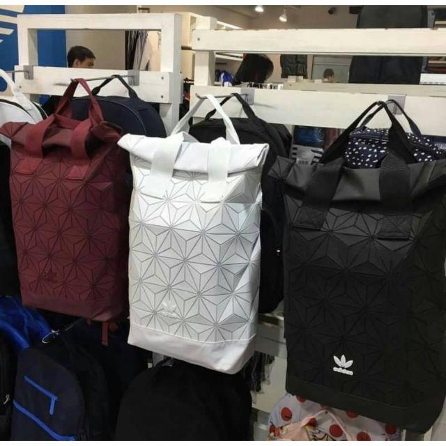 Don't Miss! Adidas 3D Roll Top Backpack Y2018 กระเป๋าเป้ Unisex ดีไซน์สุดฮิตสไตล์ ISSEY MIYAKE