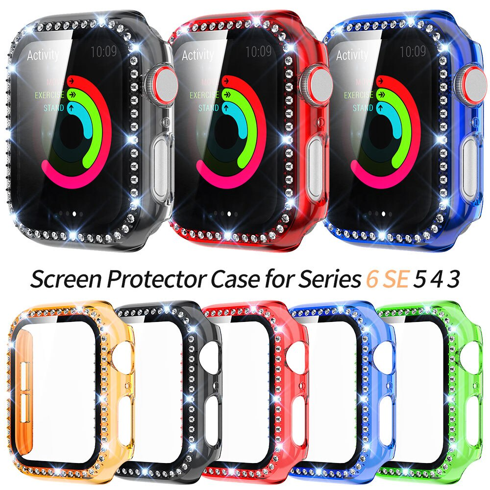 Transparent PC Diamond Case with Glass Film for Apple Watch SE Cover Series 6 5 4 3 2 1 Screen Protector Bumper 40mm 44mm 38mm 42mm