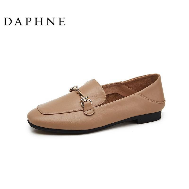รองเท้าคัชชู รองเท้าผู้หญิง ღDaphne Lefu รองเท้าหญิงใหม่สีดำอังกฤษรองเท้าหนังขนาดเล็กหญิงหนึ่งเหยียบรองเท้า Peas แบน✤