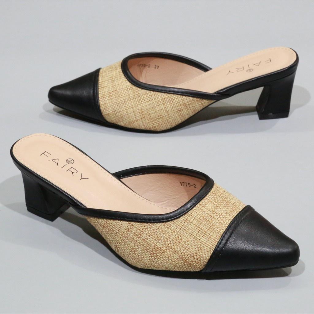 """รองเท้าส้นสูง รองเท้าส้นสูง 1779-2 คัชชูเปิดส้นสูง 2 """"  รองเท้าคัชชูเปิดส้น ผ้ากระสอบ  ส้นสูง/ส้นใหญ่ แฟชั่น FAIRY"""