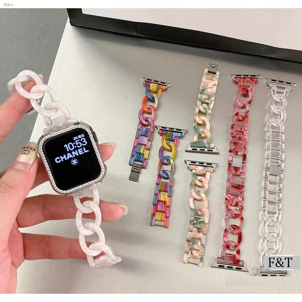 ใหม่ สายนาฬิกา Apple Watch Resin Straps เรซิน สาย SE Applewatch Series 6 5 4 3 2 1, Stainless Steel สายนาฬิกาข้อมือ for