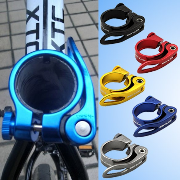 31.8mm Quick Release Bicycle Seat Post Clamp Aluminum Green Bike Seatpost Clamp