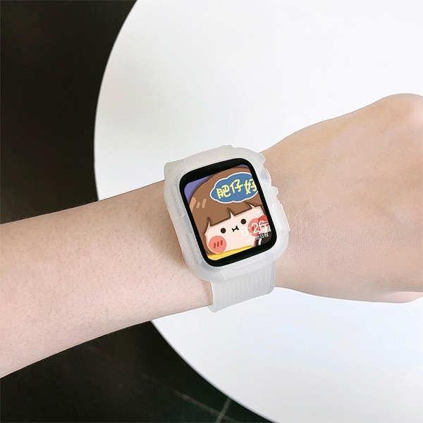 สาย applewatch สาย applewatch ที่ใช้งานได้ 56se บุคลิกภาพสร้างสรรค์ iwatch โปร่งใสสายนาฬิกา Apple กีฬาแบรนด์น้ำ