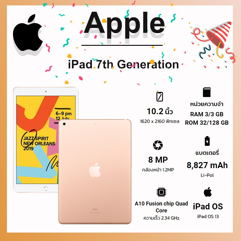 Apple iPad Gen7 (Rom 128GB/Ram 3GB) (WIFI) (TH) By Shopee SuperIphone1234