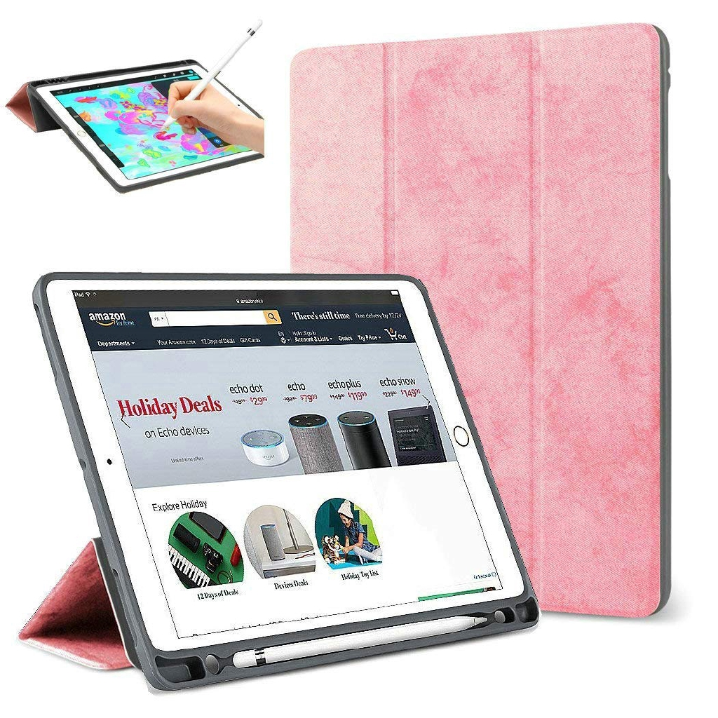 Apple iPad Pro 12.9 2017/2015 with Pencil Holder Silicone Fabric Cover +TPU Back Vintage Smart Case 9zw2