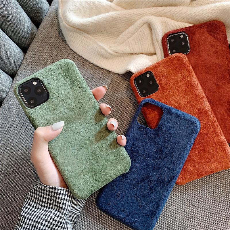 【เคส iphone】ins สไตล์เกาหลีหนังนิ่มสีส้มสกปรก iPhone11Pro Max เปลือกโทรศัพท์มือถือ Apple X / XS XR สักหลาดเปลือก iPho