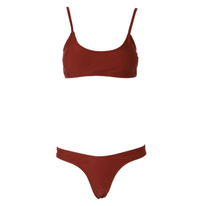 4911ab3c33b ❤❤ Women Solid Color Padded Bra G-string Thong Bikini Swimwear Two Pieces
