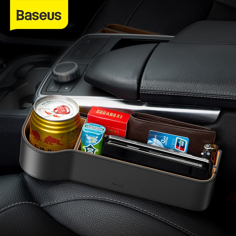 Baseus Universal Leather Car Organizer Auto Seat Gap Storage Box For Pocket Organizer Wallet Cigarette Keys Phone Holder