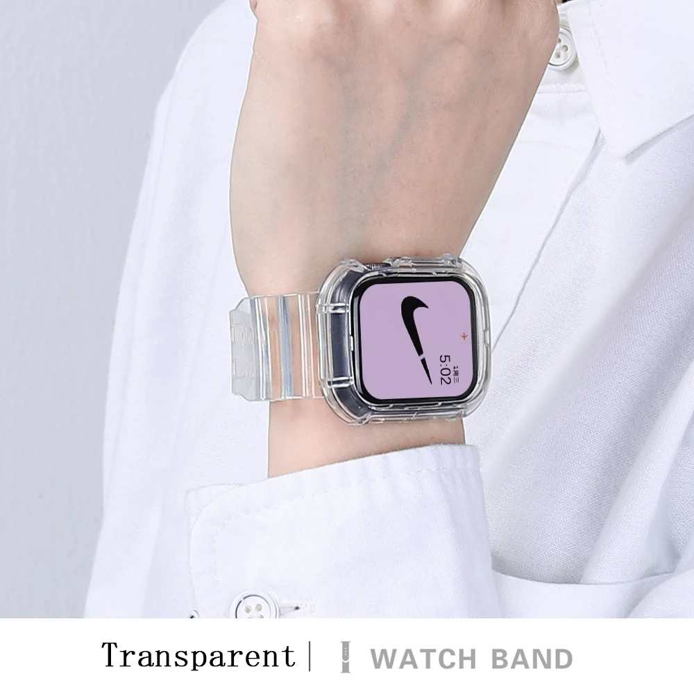 มาเลเซียขายร้อน 2 IN 1 Neon Glacier ใหม่ล่าสุดสายกีฬาโปร่งใสสำหรับ Apple Watch Strap สายนาฬิกาแอปเปิ้ล Series SE 6 5 4 3 2 1 ซิลิโคนใสสำหรับ IWatch Band 38mm 40mm Glacier Limited Edition สายซิลิโคน TPU case 38mm 40mm 42mm 44m