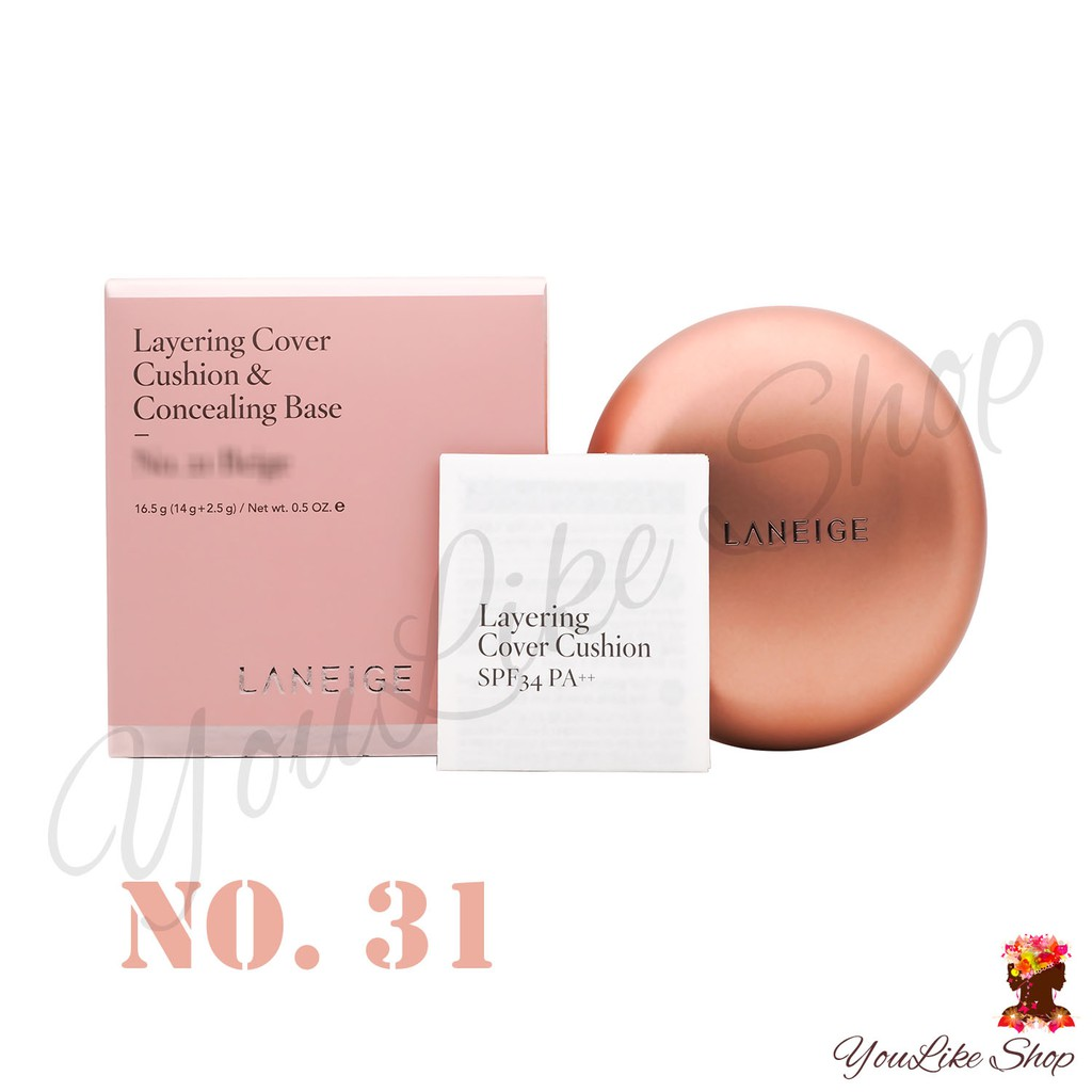 Laneige Layering Cover Cushion & Concealing Base No. 31 Brown (16.5 g) (14 g + 2.5 g) คุชชั้น 2 ชั้น