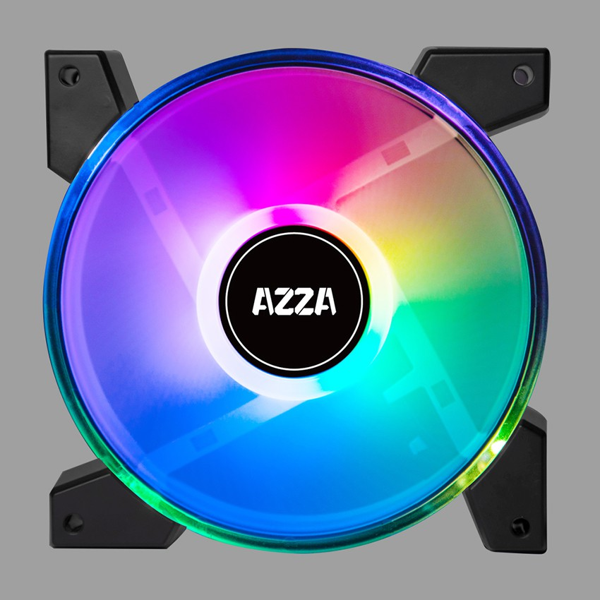 AZZA PWM Fan Case 120mm. HURICANE II Dual Ring Digital RGB with Remote Fan Controller - Black