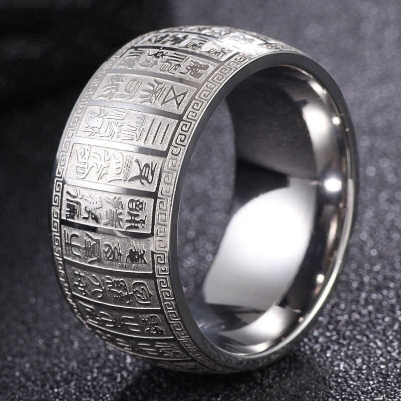 V I P แหวนหัวใจพระสูตร แหวนหทัยสูตร แหวนสแตนเลส สลักบทสวดพระโพธิสัตว์ # R 457