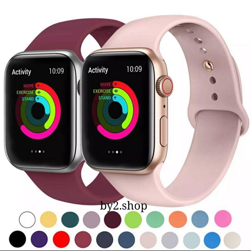 🌈 สายซิลิโคนสำรองเปลี่ยน สำหรับ AppleWatch Series 1/2/3/4/5/6 สาย Applewatch iWatch สาย 38mm 40mm 42mm 44mm