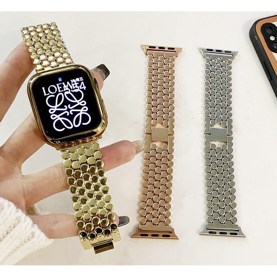 Luxury สายแบบ Apple Watch เหล็กกล้าไร้สนิม สาย สายนาฬิกา Apple Watch iwatch Series 1/2/3/4/5/6, Apple Watch SE Size 38มม.40มม 42มม.44มม สายนาฬิกาข้อมือ  Stainless steel apple watch 5 Strap
