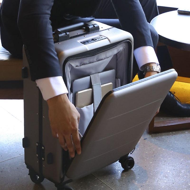 2021№กระเป๋าเดินทางเปิดข้างใบเล็ก 20- นิ้วกระเป๋าเดินทาง รถเข็นธุรกิจชาย กระเป๋าเดินทางหญิง 18 รหัสผ่าน กระเป๋าเดินทางแข