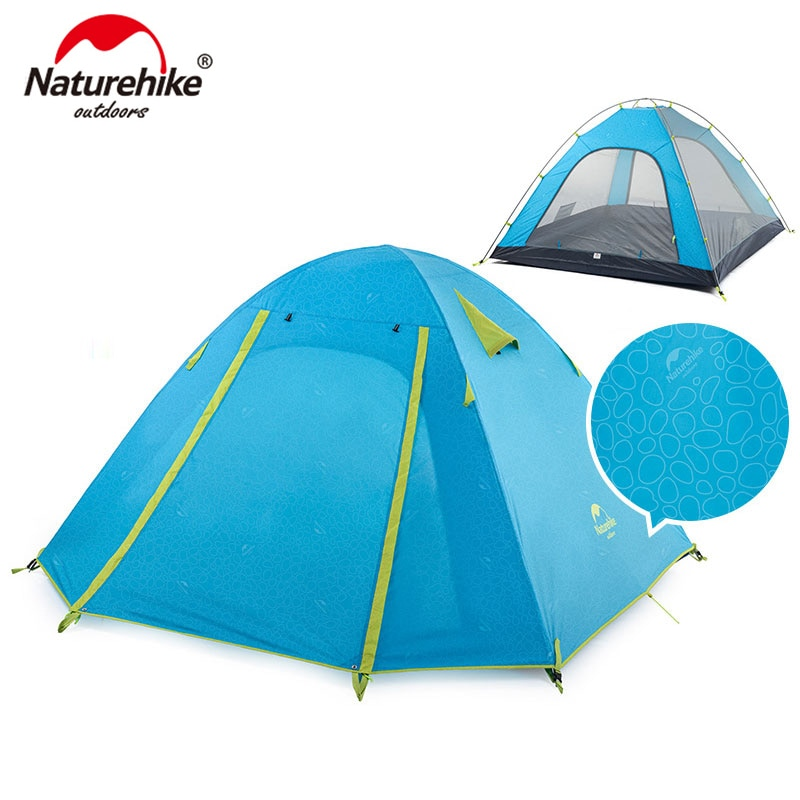 NatureHike P Series Classic Camping Tent 210T Fabric For 4 Persons  UPF 50+ NH18Z040-P