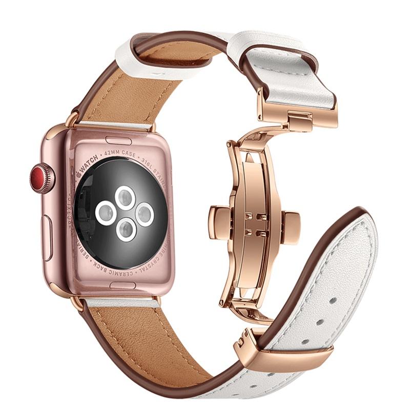 สาย applewatch∈┇☁Apply iwatch456 generation leather hook strap se6 apple watch strap Applewatch6 cortex