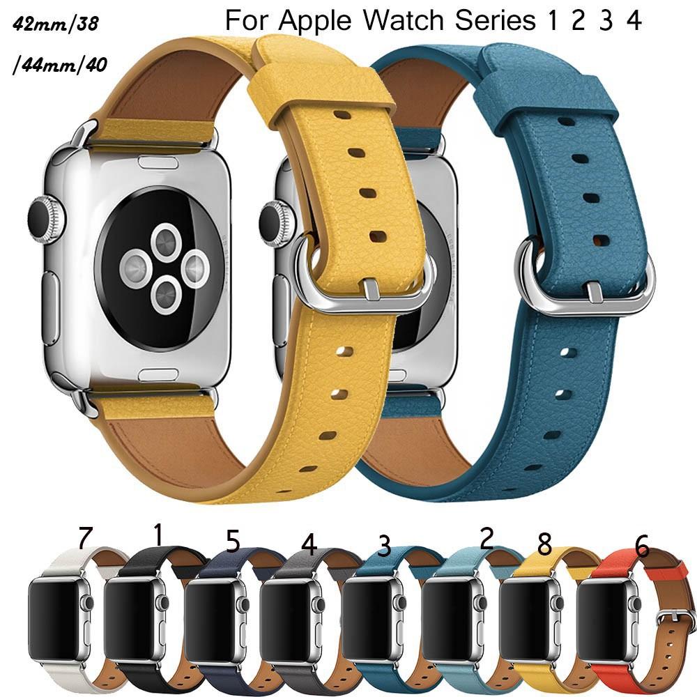 สาย applewatch ายนาฬิกา applewatch นาฬิกาข้อมือสายหนังสไตล์คลาสสิกสำหรับ Apple Watch Series 6 5 4 3 2 1 leather strap Ap