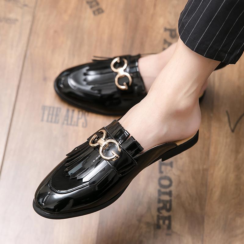 รองเท้าโลฟเฟอร์หนัง สีดำ สำหรับผู้ชาย คัชชูผู้ รองเท้าหนัง เกาหลี รองเท้าผู้ แบบ สวม ไม่มี ส้น ผูกเชือก ขนาด38-48
