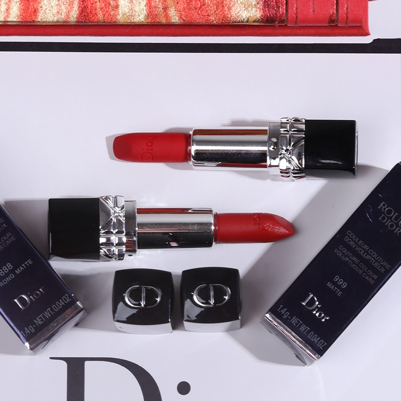 ۩Dior lipstick 999 moisturizing matte 888 sample mini flame blue gold and non-marking
