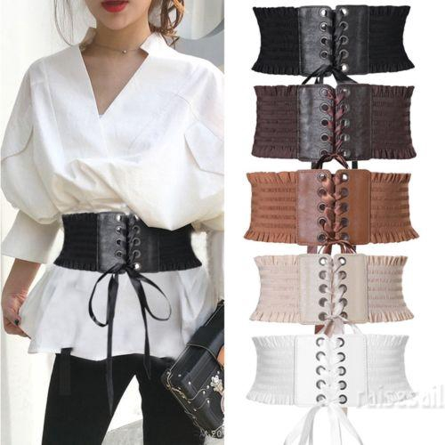 Womens Lady Fashion Retro Stretch Corset Wide Dress Waist Belt Band Elastic Wrap