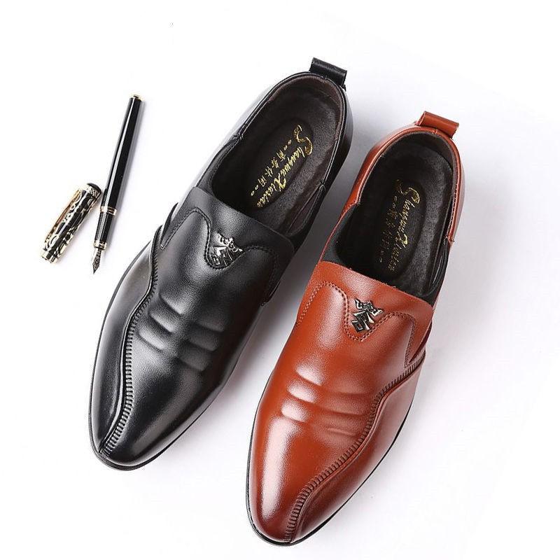 👞รองเท้าหนัง👞รองเท้าหนังผู้ชาย คัชชูหนัง รองเท้าหนังลำลองสีดำรองเท้าแฟชั่นเยาวชน  รองเท้าธุรกิจ