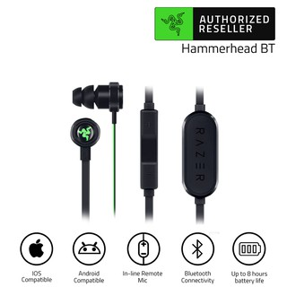 Razer Hammerhead BT Bluetooth Earphones Built-In Mic with In-Line Remote Noise Isolation Neckband Headset (หูฟังไร้สาย)