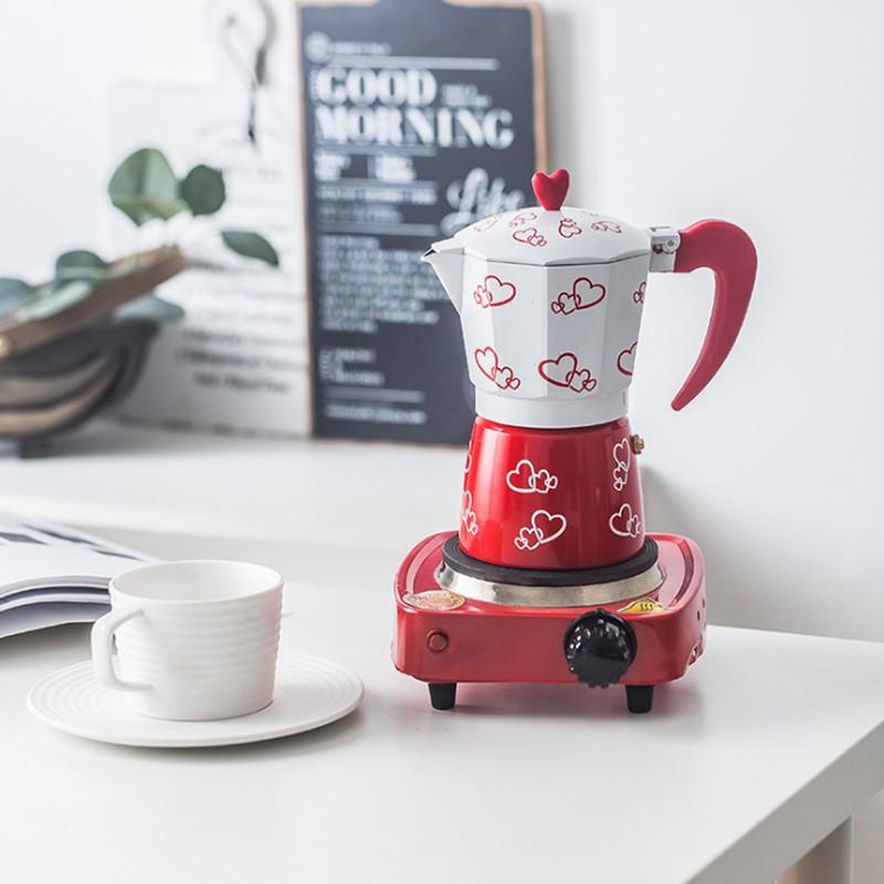 หม้อกาแฟมอคค่าอิตาลีโฮมอลูมิเนียมทรงแปดเหลี่ยมหม้อกาแฟเอสเพรสโซ่ Moka หม้อกาแฟที่ทำด้วยมือเครื่องชงกาแฟ