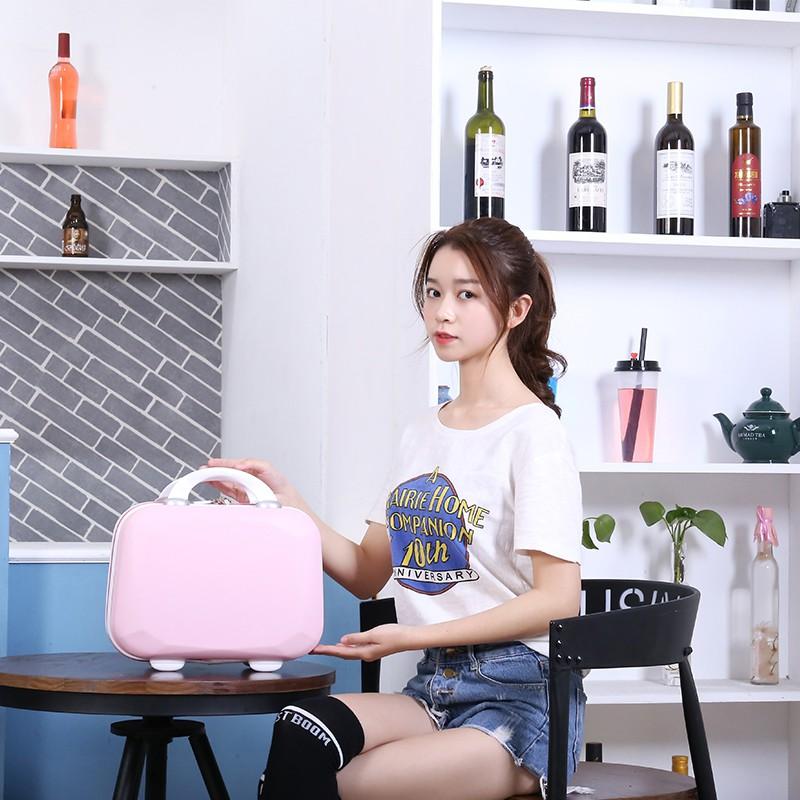 กระเป๋าเครื่องสำอางค์พกพา  มินิเดินทางกรณีเครื่องสำอาง14กล่องพกพานิ้วกระเป๋าเดินทางขนาดเล็กหญิงเกาหลีน่ารัก16นิ้วความจุส