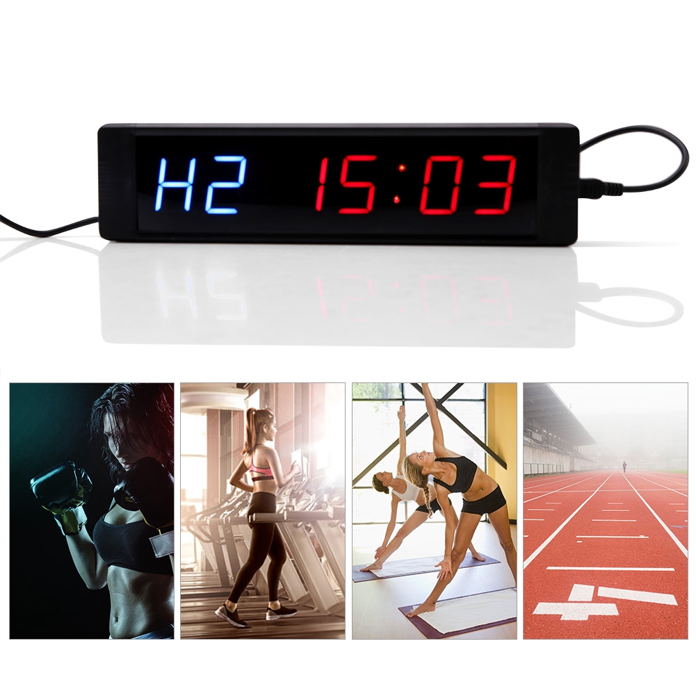 Gym Sport Crossfit Interval Timer Wall Clock w//Remote For MMA Tabata Fitness
