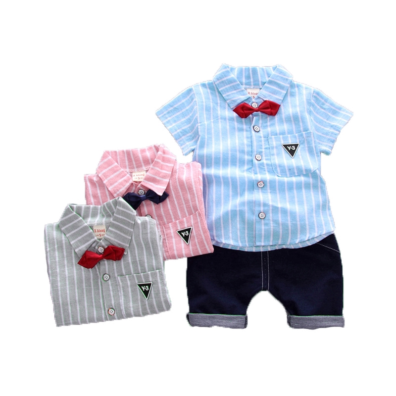 0-2Y Baby Toddler Kids Boy Long Sleeve Gentlemen Cotton Top Bow Tie Plaid Shirts