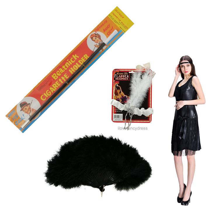 1920s Flapper girl dressFour-Piece Set of Halloween Costume Skirt Cigarette Holder Head Belt Fan cn2J