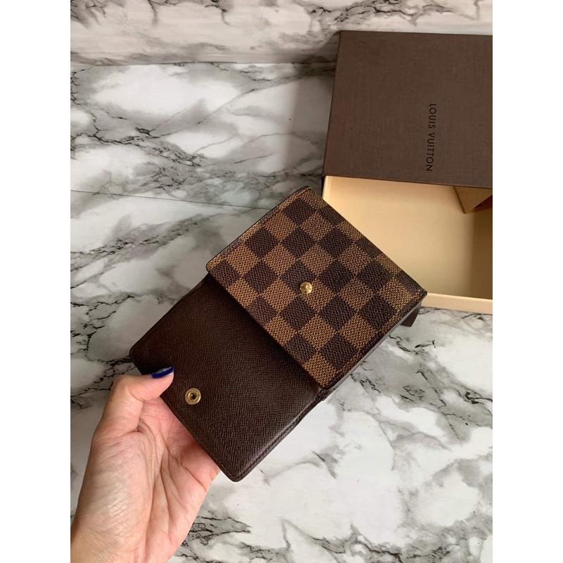 พร้อมส่งแท้💯 กระเป๋าสตางค์ หลุยส์ 3 พับ มือ2 แท้อเมริกา พร้อมกล่อง  ลาย ดามิเย่ USED Louis Vuitton Porte  damier wallet