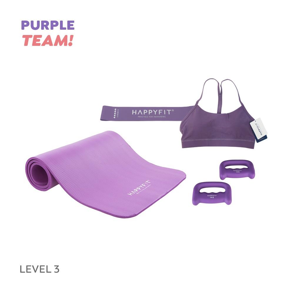 Happyfit Bundling Purple Team - Level 3 (yoga Mat / ยางยืดรัดต้านทาน) อุปกรณ์ออกกําลังกาย