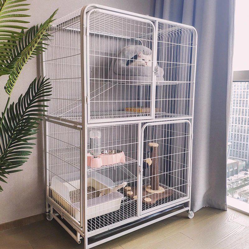 กรงแมว แมววิลล่าในร่มขนาดใหญ่ 2-3 ชั้นบ้านแมวครอกแมวขนาดเล็กพื้นที่ว่างขนาดใหญ่