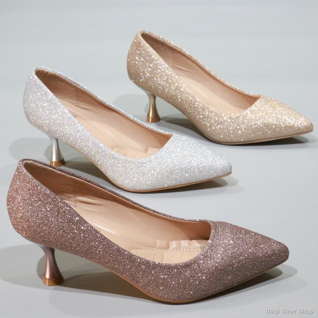 จัดส่งด่วน💖รองเท้า รองเท้าผู้หญิง รองเท้าคัชชูส้นสูง รองเท้าส้นสูง แฟชั่น เกล็ดเพชร นิ้ว