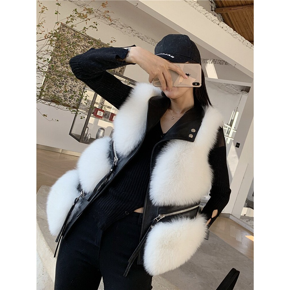 ☍✱⊙Whole Hide Fox Fur Vest Women's Short Style Thin 2020 New Style for Autumn and Winter Fur Coat Fur Vest Waistcoat
