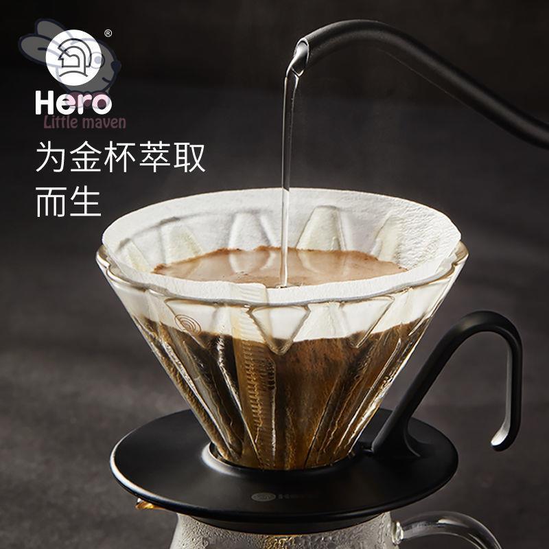 เตา moka pot✔Hero Flower ถ้วยกรองกาแฟหยดกรองแก้วหยดเครื่องชงกาแฟในครัวเรือนชุดทำมือ