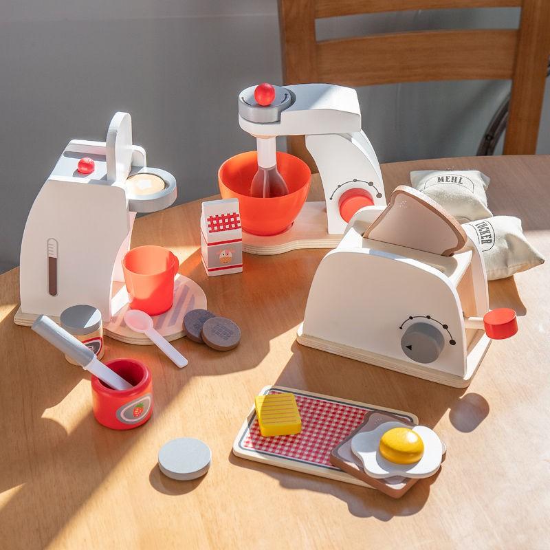 ของเล่นจำลองของเล่นครัวบ้านไม้เด็กชุดเครื่องครัวเครื่องทำขนมปังเครื่องชงกาแฟ เครื่องทำไข่ของขวัญสำหรับเด็กชายและเด็กหญิง