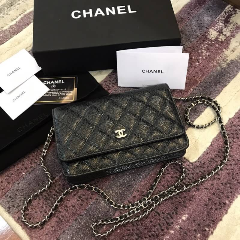 Wallet Chain Quilted กระเป๋าสะพายข้างผู้หญิง Hardware On สีดำ Woc Black หนังคาเวียร์ Gold Chanel Caviar กระเป๋าชาแนล