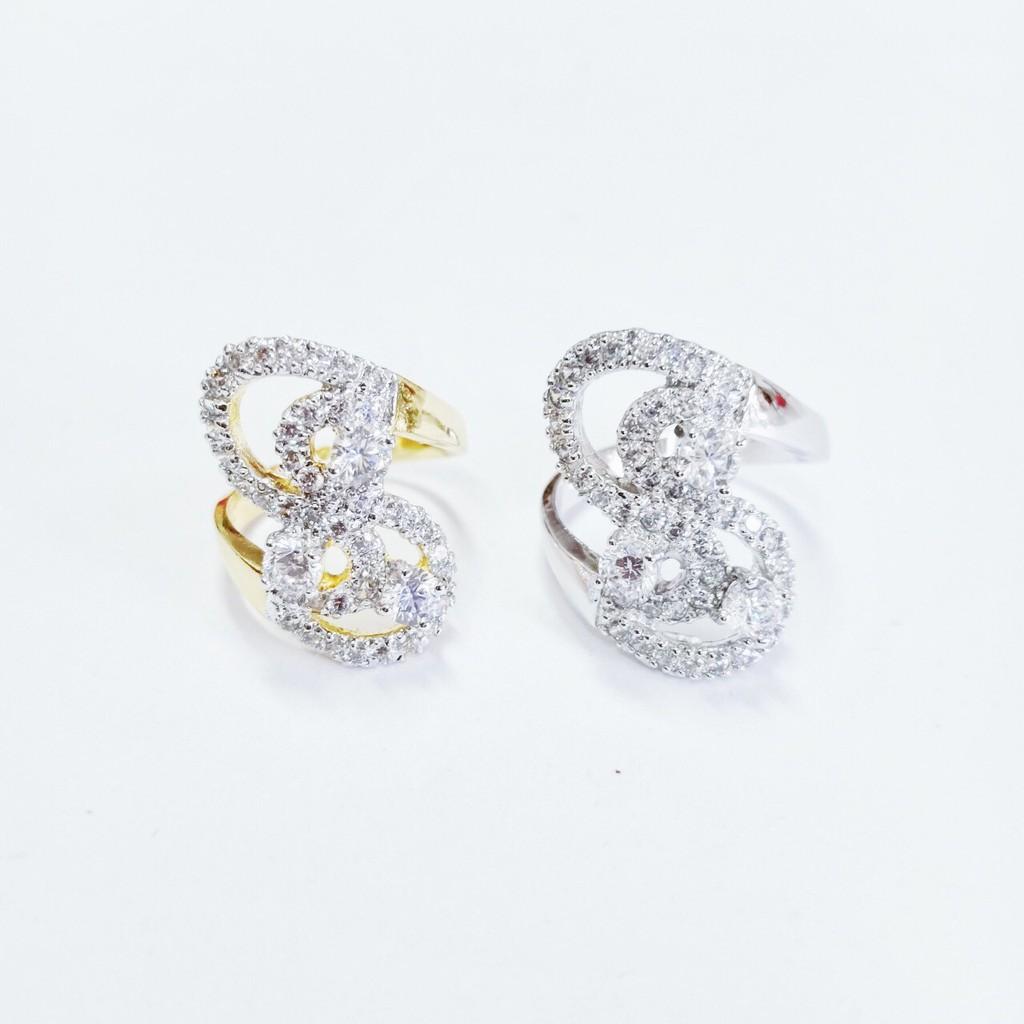 แหวน เพชร cz ริบบอน ชุบทองไมครอน และทองคำขาว ราคาพิเศษ