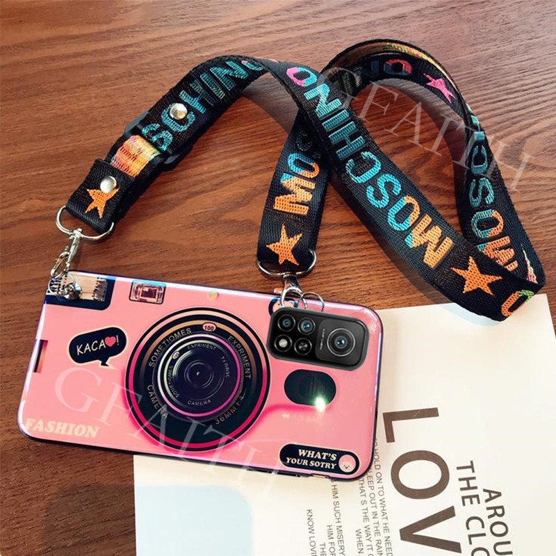New เคสโทรศัพท์ For Xiaomi Mi 10T / Xiaomi 10T Pro 5G Back Cover Cute Camera Pattern 2020 Phone Case with Adjustable Lanyard Strap Casing Softcase เคส For Xiaomi10T Mi10T 10TPro 5G