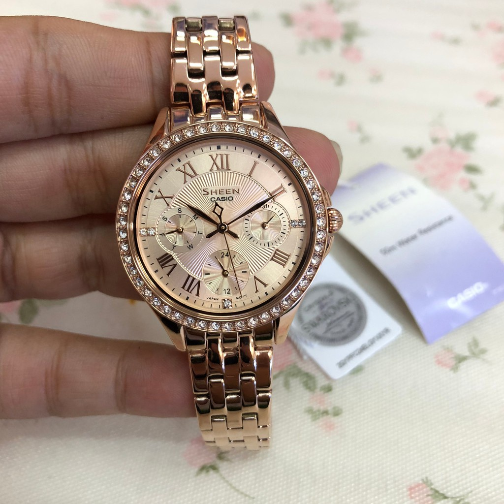 ❁✳แท้ศูนย์ CASIO SHEEN นาฬิกาข้อมือผู้หญิง สายสแตนเลส รุ่น SHE-3062PG  SHE-3064PG SHE-3809PG ประกันศูนย์
